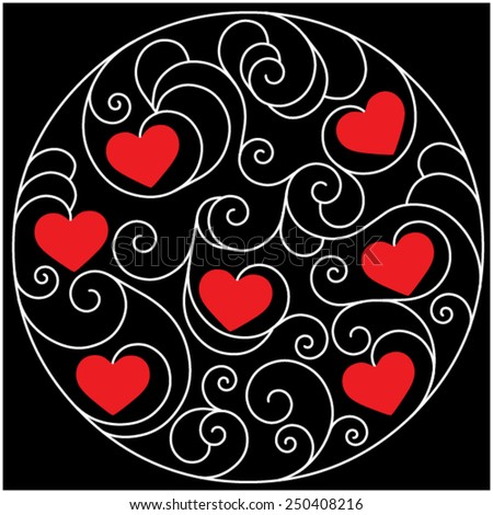 Red hearts for Valentine's Day in deco round pattern from ornamental scrolls on black background  - stock vector