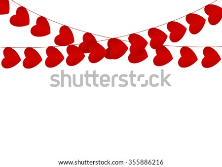 Red hearts garlands on white - stock vector