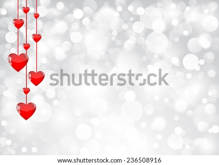 Red hearts hanging on a silver shimmering background - stock vector