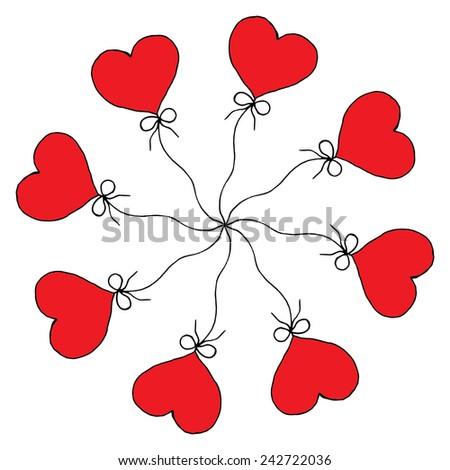 Red Hearts in rosette shape on simple white bakground - stock vector