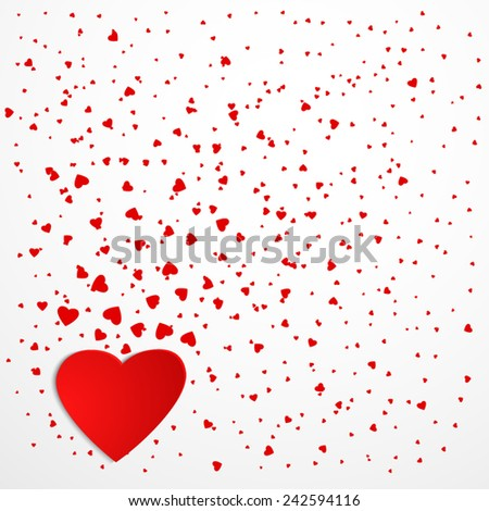 red hearts isolated on white background, Valentines Day background  - stock vector