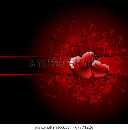 Red Hearts on grunge background, illustration - stock vector
