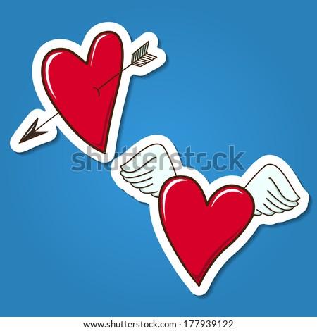 Red hearts. Paper sticker imitation. Vector card concept. Romantic tender design - stock vector