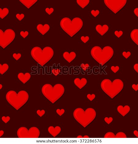 Red Hearts Seamless Background Pattern. Vector - stock vector
