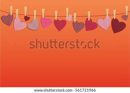 Red hearts  with a picture hanging on a rope. Valentine's Day. Vector illustration. Greeting card with empty space for your label or advertising. On a orange background