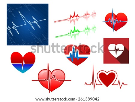 Red hearts with beat frequency icons and cardiology monitor for medical concept design - stock vector