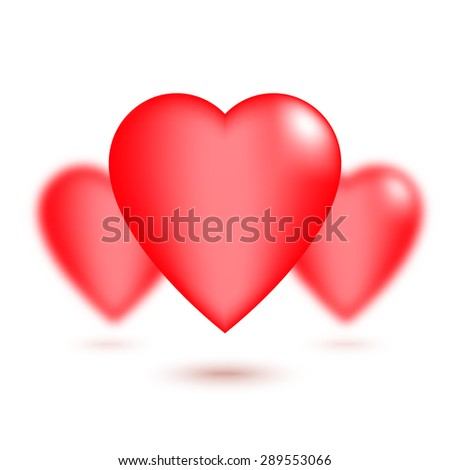 Red hearts with defocused effect, on white background. Can be used for Saint Valentine's Day design. Vector illustration. - stock vector