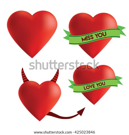 Red hearts with ribbon, I love you heart, miss you heart, devil heart  - stock vector