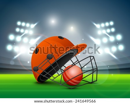 Red helmet with ball shining in night stadium lights for Cricket sports concept. - stock vector
