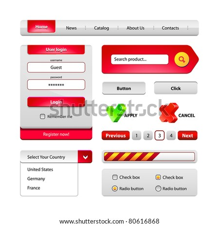 Red Hi-End Web Interface Design Elements: buttons, menu, progress bar, radio button, check box, login form, search, pagination, icons.