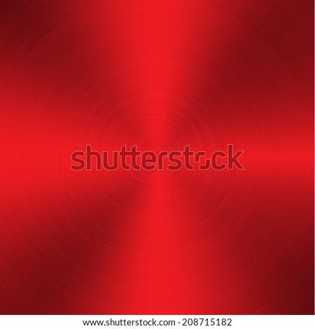 red high contrast circular brushed aluminum texture  - stock vector