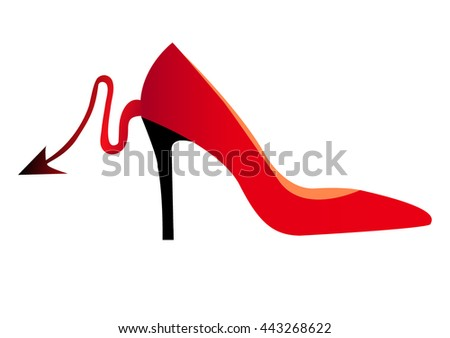 red high heel shoe with black heel and red devil tail - stock vector