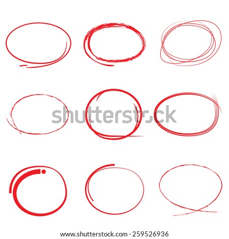 red highlight pen circle, hand draw circles set - stock vector