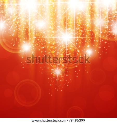 red holiday background with bright stars - stock vector