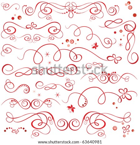 Red holiday design elements - stock vector