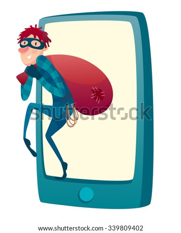 Red hood Hacker step out of smart phone screen after his criminal activity crack, spam, stealing money ,account password, personal data. Vector flat illustration.  - stock vector