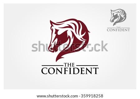 red horse head mascot logo design stock vector 359918258
