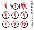 Red hot chili peppers icons set - stock vector
