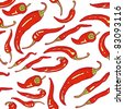 Red hot chili peppers on white seamless background - stock photo