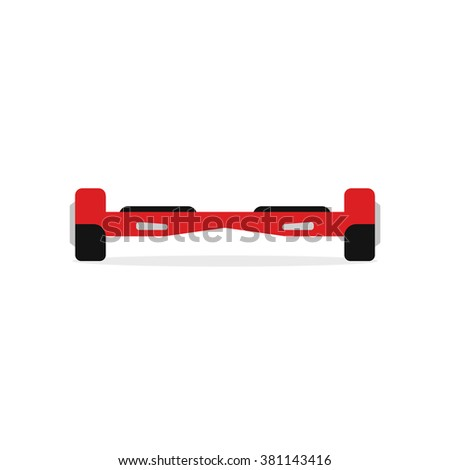 Red hover board vector illustration, hover board flat icon, two wheels scooter modern design isolated on white background