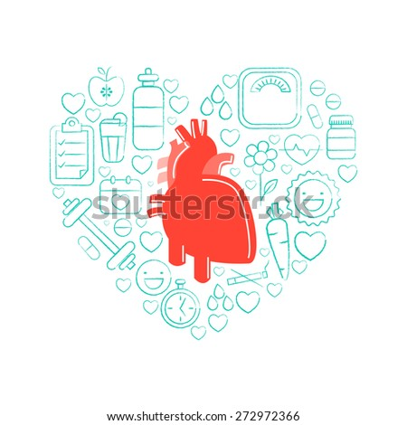 Red human heart with different infographic elements to keep it healthy and fit on white background for Health and Medical concept.   - stock vector
