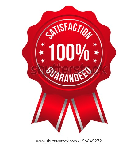 Red hundred percent satisfaction badge - stock vector