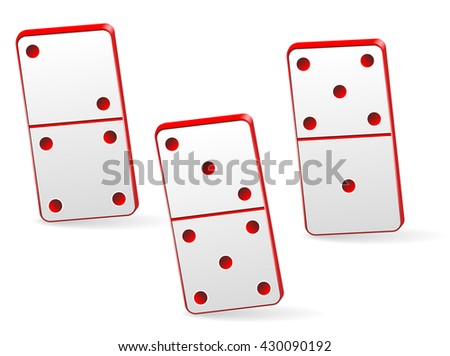 Red Icon game of three dominoes. Board game Domino. Domino icon vector for web. - stock vector