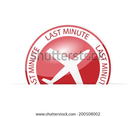 Red icon or button with sign last minute - stock vector