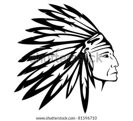 Tribal Chief Drawing Red Indian Chief Wearing