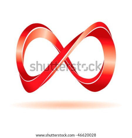 Red infinity sign - stock vector
