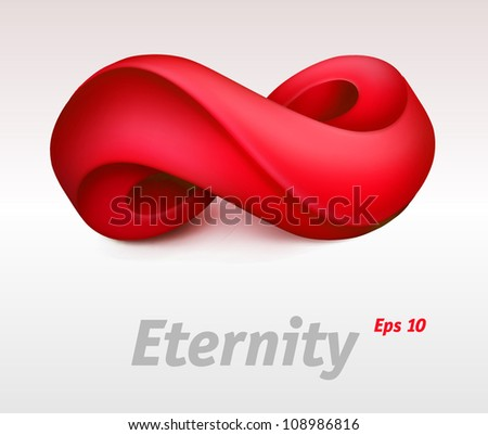 Red infinity symbol. Vector illustration - stock vector