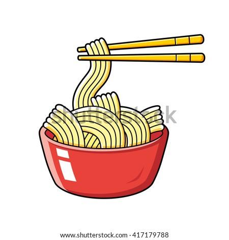 red instant noodles bowl chopsticks illustration stock