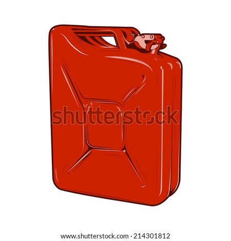 Red jerrycan isolated on a white background. Color line art. Retro design. Vector illustration. - stock vector