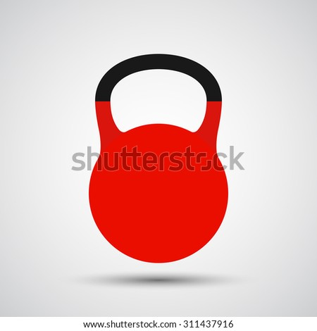 Red kettlebell icon, Weight sign icon - Vector - stock vector