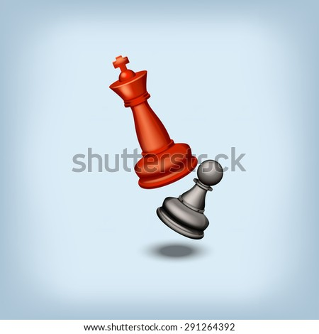 red king beats black pawn on blue background - stock vector