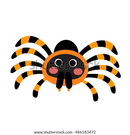 Red Knee Tarantula animal cartoon character isolated on white background.