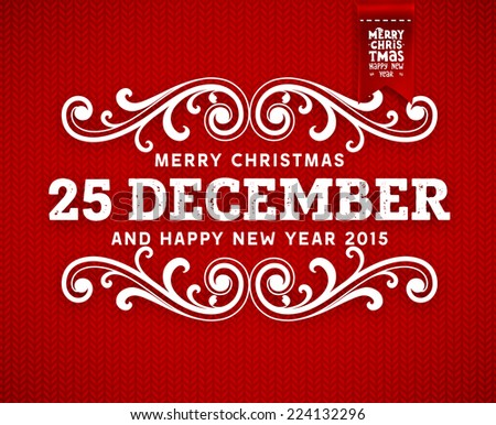 Red Knitted Background with Christmas Label. Holiday Design. - stock vector
