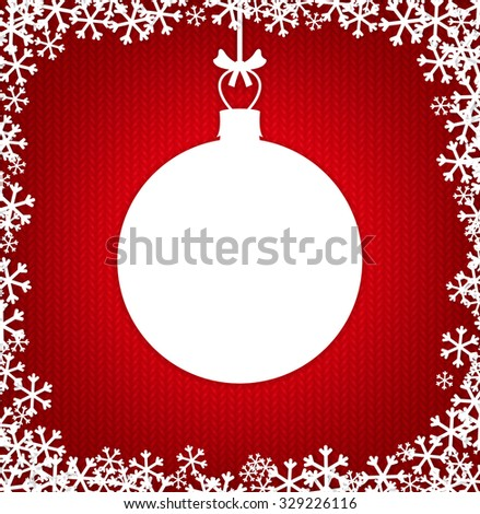 Red knitted background with white empty Christmas ball - stock vector