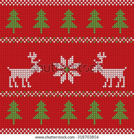 Red knitted Christmas sweater with deer seamless pattern - stock vector