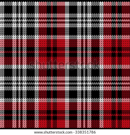 Red Knitted Plaid Tartan Pattern - stock vector