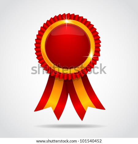 Red label with ribbons. Vector illustration - stock vector