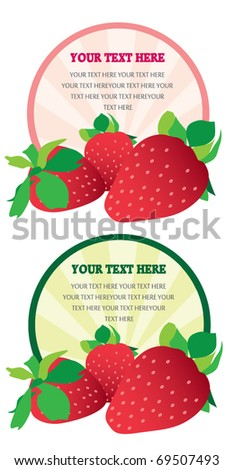 Red label with ripe strawberries. Vector - stock vector