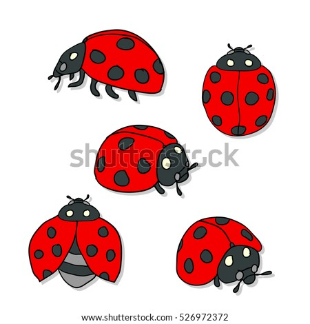Red Ladybugs And Lines Cartoon Isolated On A White