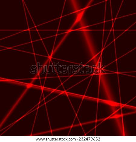 Red laser random beams on dark background - stock vector
