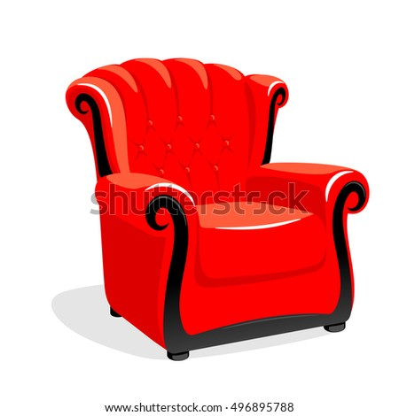 Red Leather Armchair Classic Armchair Vector Stock Vector 496895788    Shutterstock