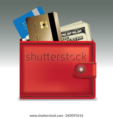 Red leather wallet with money and credit and discount cards. Vector illustration