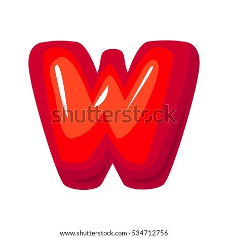 Red letter w on white