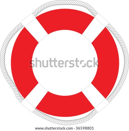 Red life-buoy - stock vector