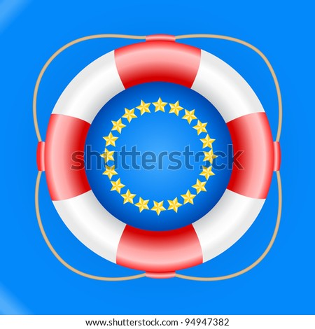 Red life buoy and europe symbol, vector illustration. - stock vector