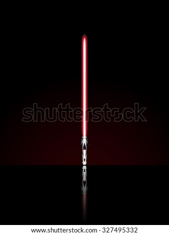 Red light sword. Vector illustration.